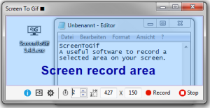 ScreenToGif interface with the record area marked in light blue.
